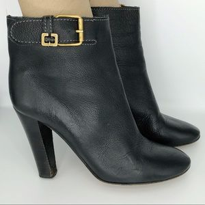 Chloe Ankle Boots Black Leather Buckle Heel 40